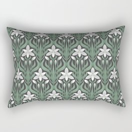 Seamless floral ornament in art Deco style. Ornithogalum umbellatum, the garden star-of-Bethlehem, grass lily, nap-at-noon, or eleven-o'clock lady. Rectangular Pillow