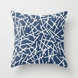 Kerplunk Navy and White Throw Pillow