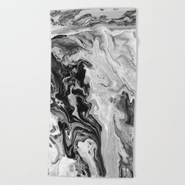 Black and White Marble Beach Towel