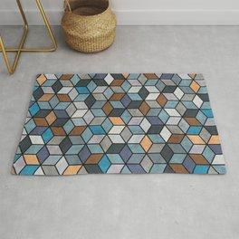 Colorful Concrete Cubes - Blue, Grey, Brown Rug