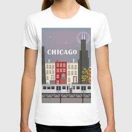 Chicago, Illinois - Skyline Illustration by Loose Petals T-shirt