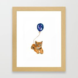 flying baby tiger watercolor painting  Framed Art Print