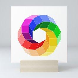 Illusion color wheel forming a hexagon Mini Art Print