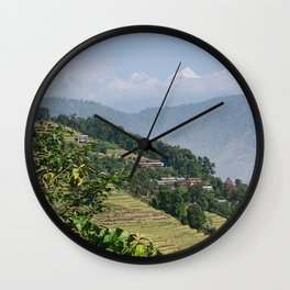 PASTORAL VIEW NEPAL FOOTHILLS Wall Clock