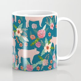 Pig florals farm homesteader pigs cute farms animals floral gifts Coffee Mug