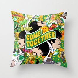 Come Together (Green and Yellow) Throw Pillow