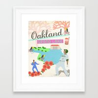 oakland Framed Art Prints featuring Oakland by June Chang Studio