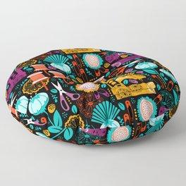 Garden of Sewing Supplies - Black Floor Pillow