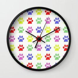 Pawprints Pattern I Wall Clock