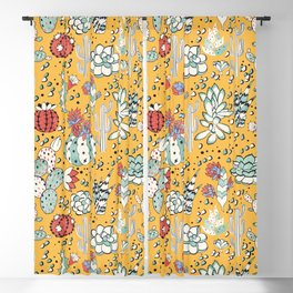 Succulents in yellow desert Blackout Curtain