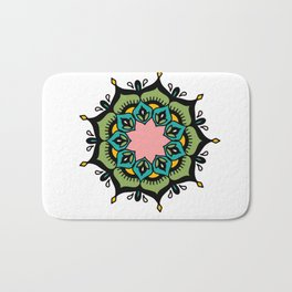 Mandala: Green and pink Bath Mat