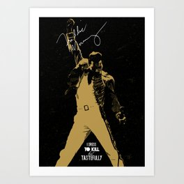 Rock singer golden poster on black background Art Print
