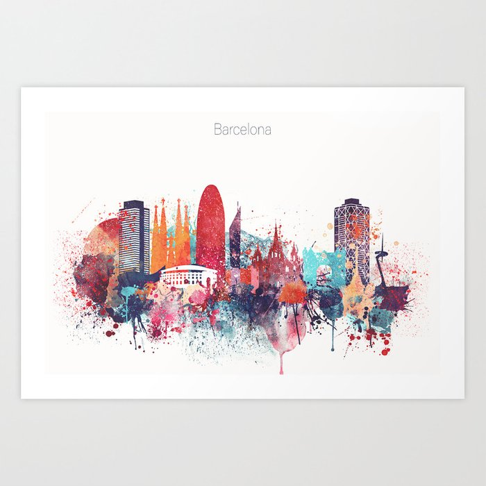 barcelona watercolour skyline art print by dimdom society6 barcelona watercolour skyline art print by dimdom