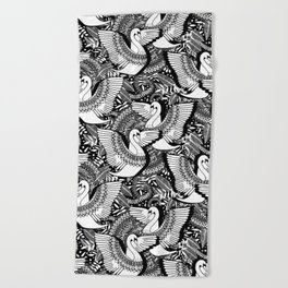 Stylish Swans in Monochrome Black and White Beach Towel