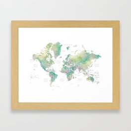Watercolor world map in muted green and brown, with country capitals Framed Art Print