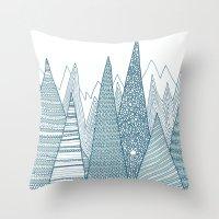 mountains Throw Pillows featuring Mountains by Anita Ivancenko