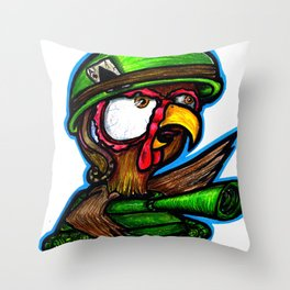 Here They Come To Snuff the Rooster Throw Pillow