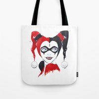 harley quinn Tote Bags featuring Harley Quinn by Berry Luna