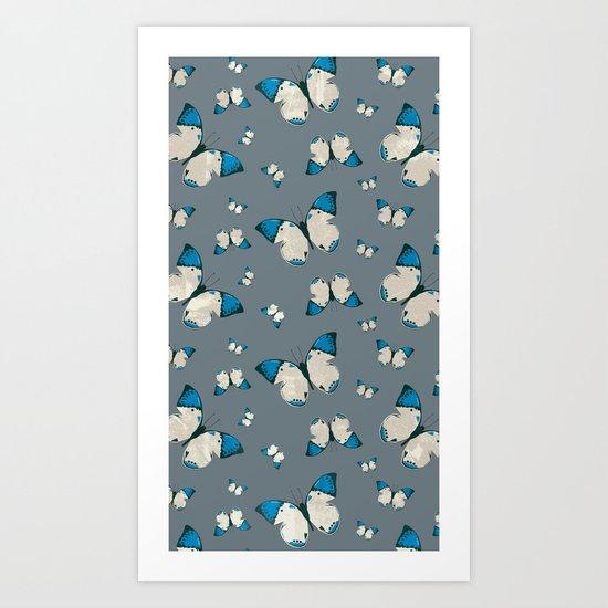 Spring Butterfly (Blue Pattern) Art Print