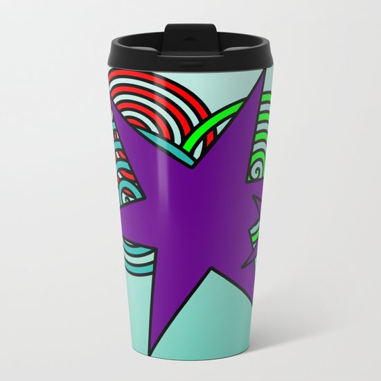 Purple Stars Metal Travel Mug