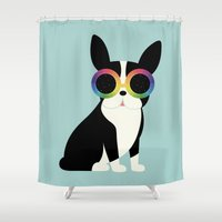 work hard Shower Curtains featuring Work Hard Play Harder by Andy Westface