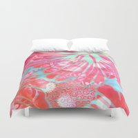 aelwen Duvet Covers featuring Blue Water Hibiscus Snowfall by Vikki Salmela