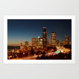 Seattle at Sunset Art Print