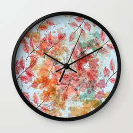 Watercolor autum foliage on blue Wall Clock