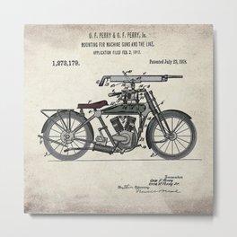 1914 WWI Perry Motorcycle Machine Gun Patent Metal Print