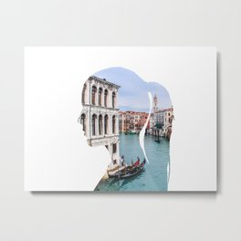 Female silhouette with Venice Metal Print