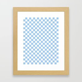White and Baby Blue Checkerboard Framed Art Print