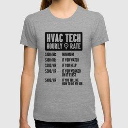 HVAC Tech Hourly Rate Shirt Funny AC Installer Contractor Engineer Men Build T-shirt