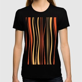 Orange Crooked Lines Pattern T-shirt