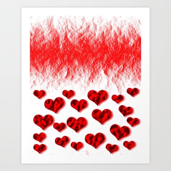 Hearts Abstract Pattern Art Print