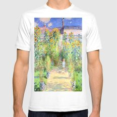 Monets Garden at Vetheuil White MEDIUM Mens Fitted Tee