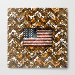 Orange Digital Camo Patriotic Chevrons American Flag Metal Print