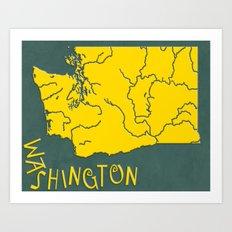 Washington State Map Art Print