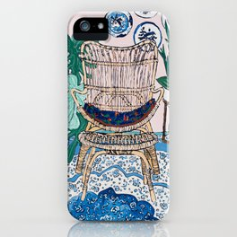 Wicker Chair and Delft Plates in Jungle Room iPhone Case
