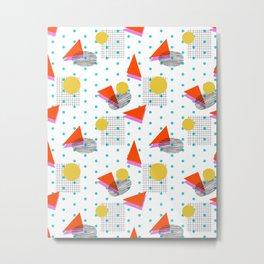 Bounce - abstract minimal retro throwback 1980s grid circle shapes memphis design pattern print art Metal Print