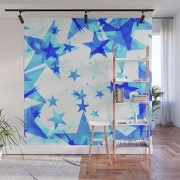 Glowing heavenly and blue stars on a light background in projection and with depth. Wall Mural