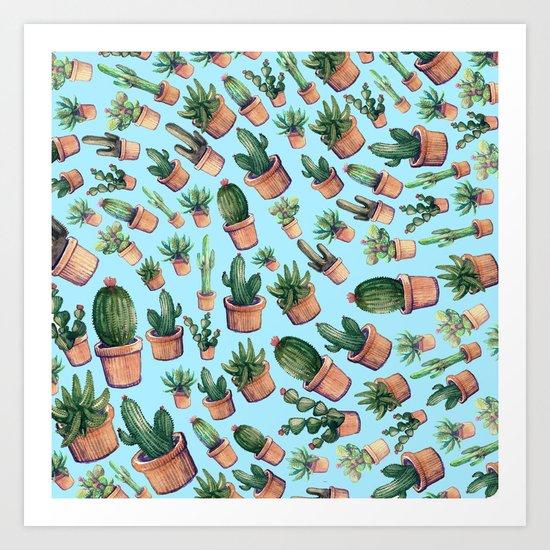 Blue cactus invasion Art Print