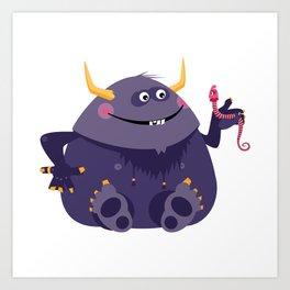 Big purple monster and his little friend Art Print
