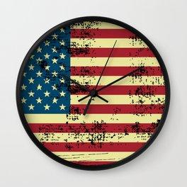 Shredded american flag design Wall Clock