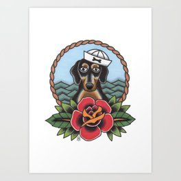 Sailor Sausage Dog Art Print