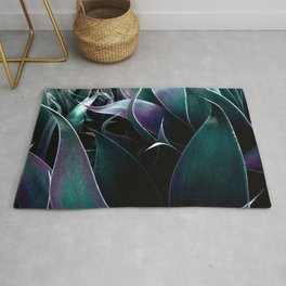Deep Purple Teal Abstract Leaves Rug