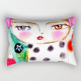 Dream a bit...every day! pink hair girl fish flowers Rectangular Pillow