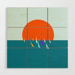Minimal regatta in the sun Wood Wall Art