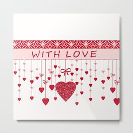 Red hearts on a white background. Metal Print