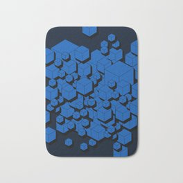 3D Cobalt blue Cubes Bath Mat