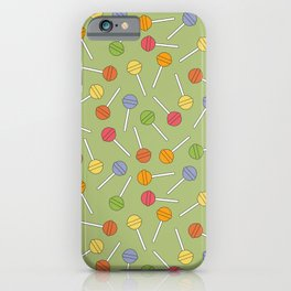Happy Lollipops Sugar Candy Green Background iPhone Case
